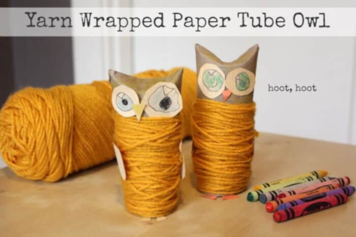 Yarn Wrapped Paper Tube Owl by Make and Takes