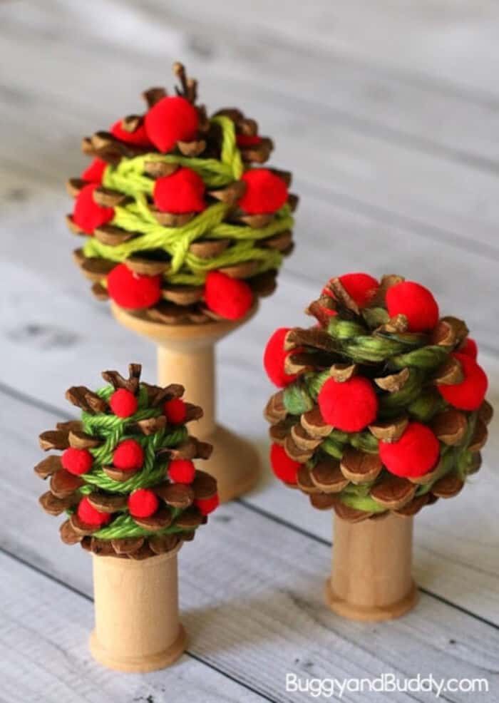 Yarn-Wrapped Pinecone Apple Tree Craft by Buggy and Buddy