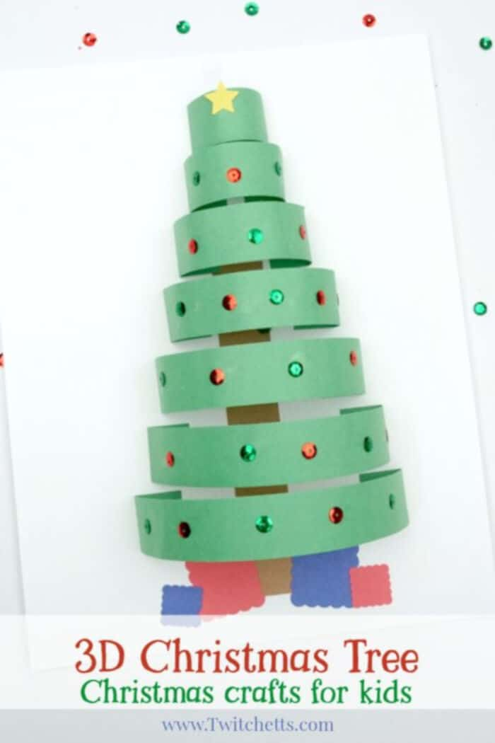 3D Paper Christmas Tree Craft by Twitchetts