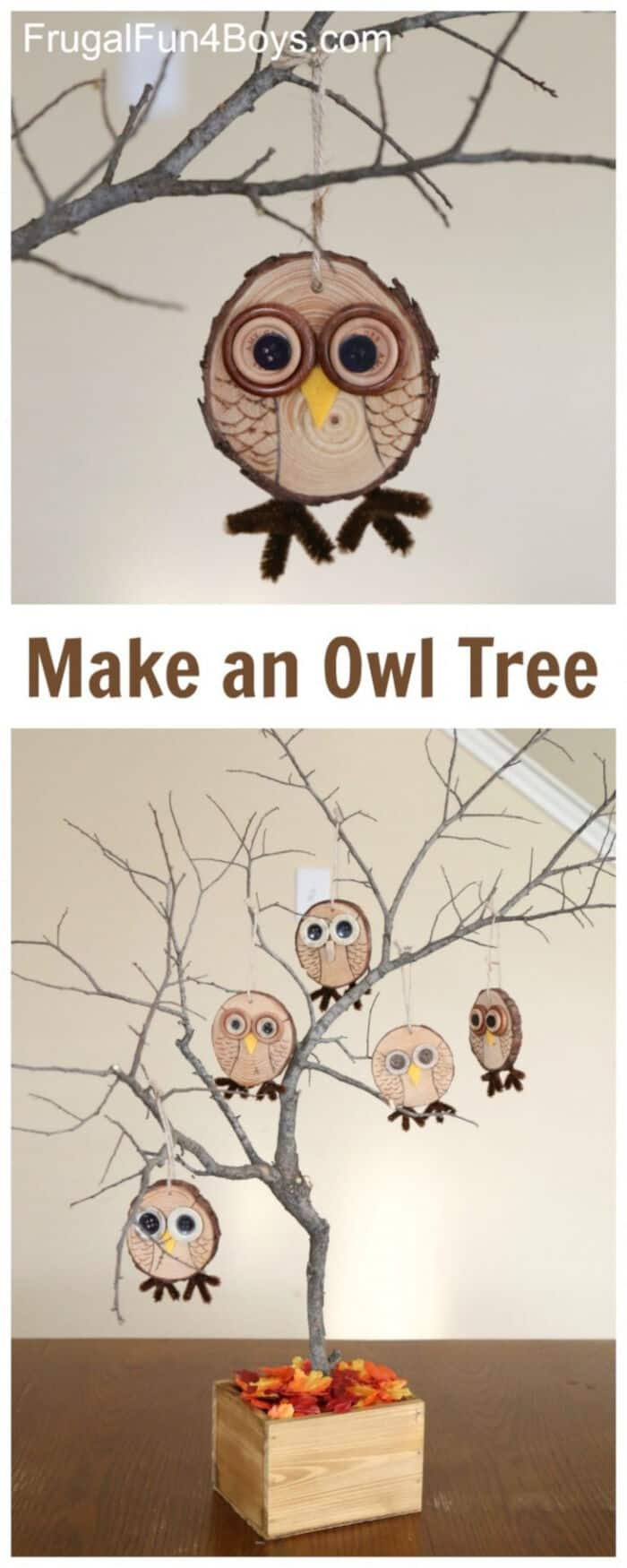 Adorable Wood Slice Owl Ornaments by Frugal Fun For Boys and Girls