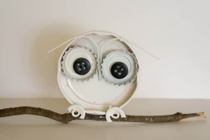 Bottle Cap Owl by Think Crafts!