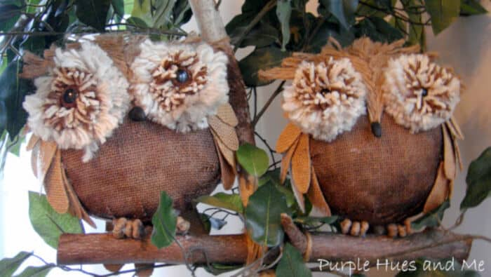 Burlap Owls by Purple Hues and Me