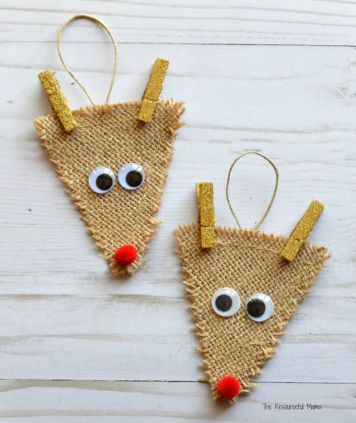 Burlap Reindeer Ornament by The Resourceful Mama