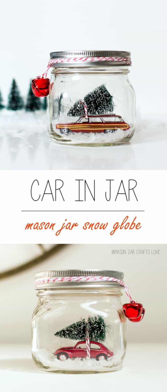 Car in Jar Snow Globe by Mason Jar Crafts