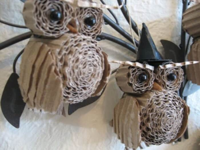 Cardboard Owls for Halloween by Upcycle That