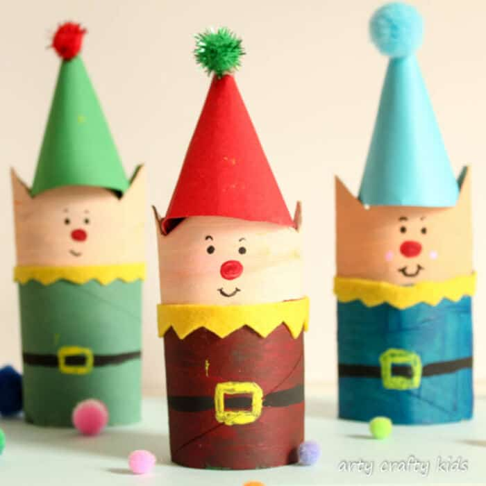 Cardboard Tube Christmas Elf Craft by Arty Crafty Kids
