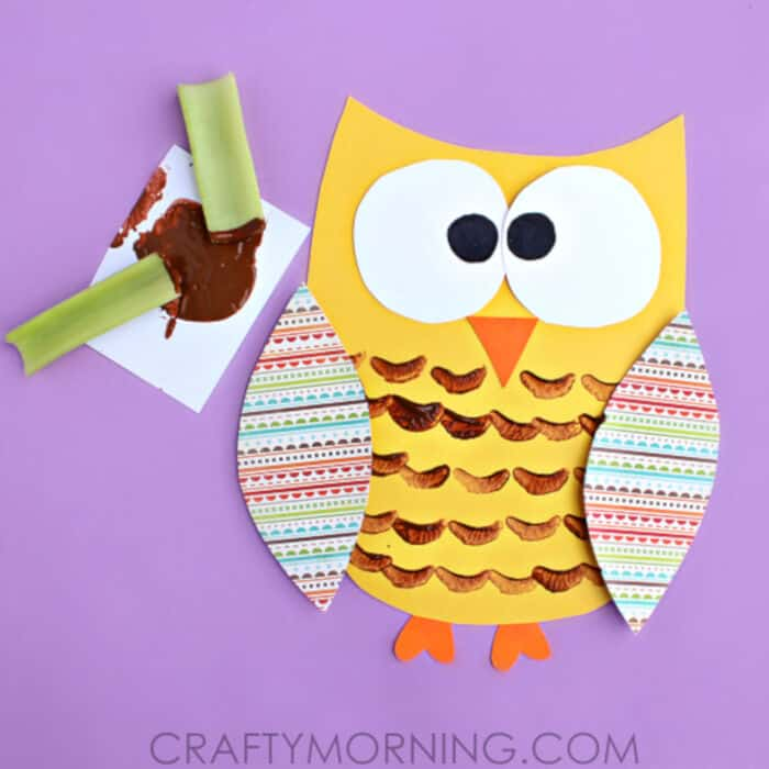 Celery Stamped Owl Craft by Crafty Morning