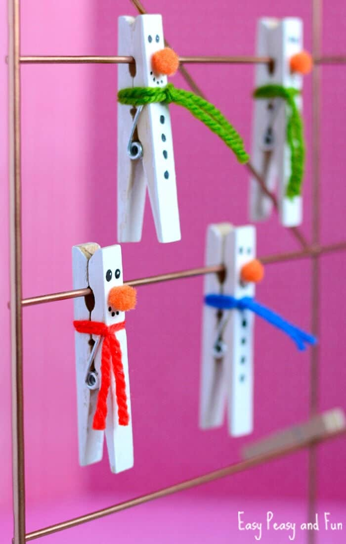 Clothespin Snowman Craft by Easy Peasy and Fun