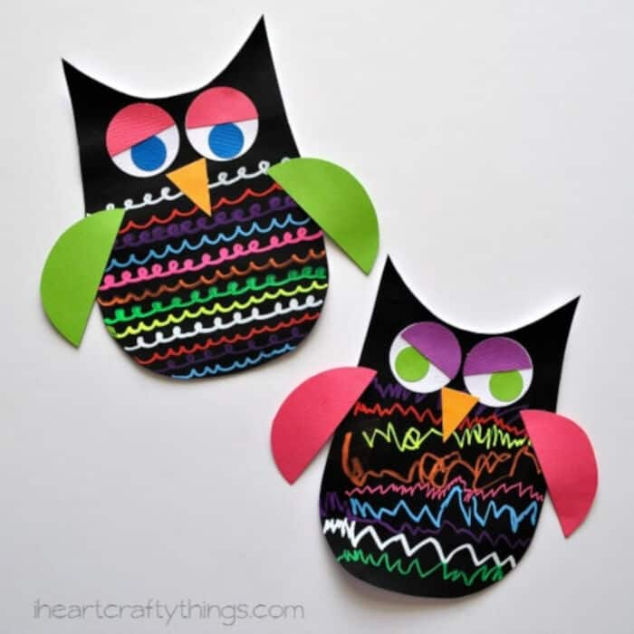 Colorful Owl Craft for Kids using Fun Chalk by I Heart Crafty Things