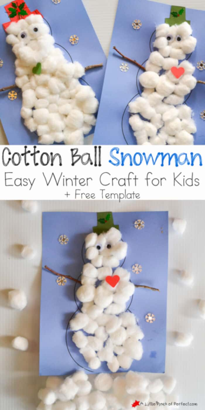 Cotton Ball Snowman by A Little Pinch of Perfect