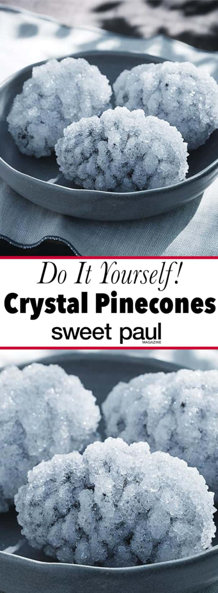 Crystal Coated Pinecones by Sweet Paul