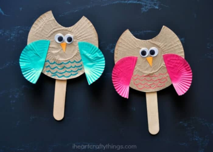 Cupcake Liner Owl Puppet Kids Craft by I Heart Crafty Kids