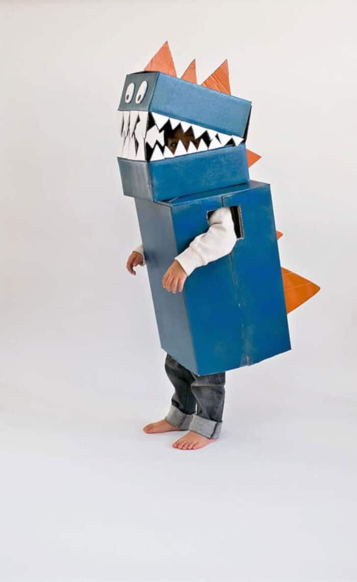 DIY Cardboard Dinosaur Costume by Hello, Woderful