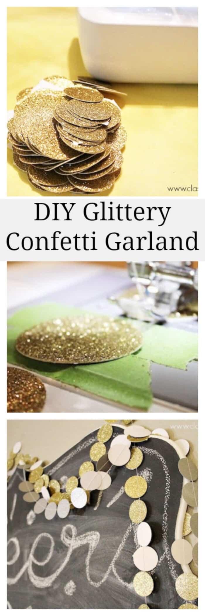 DIY Glittery Confetti Garland by Classy Clutter