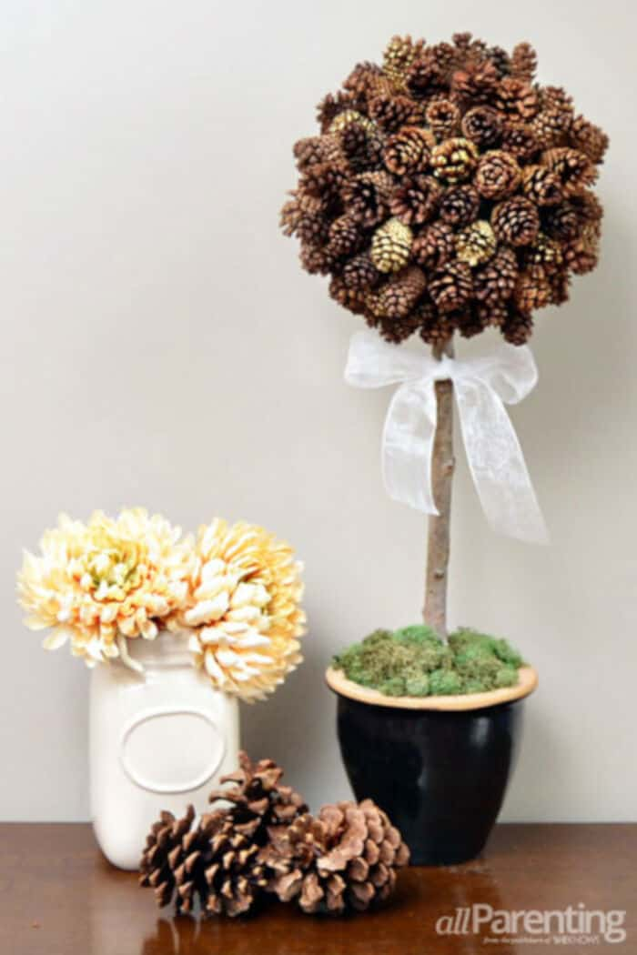 DIY Make a Pretty Pine Cone Topiary by All Parenting