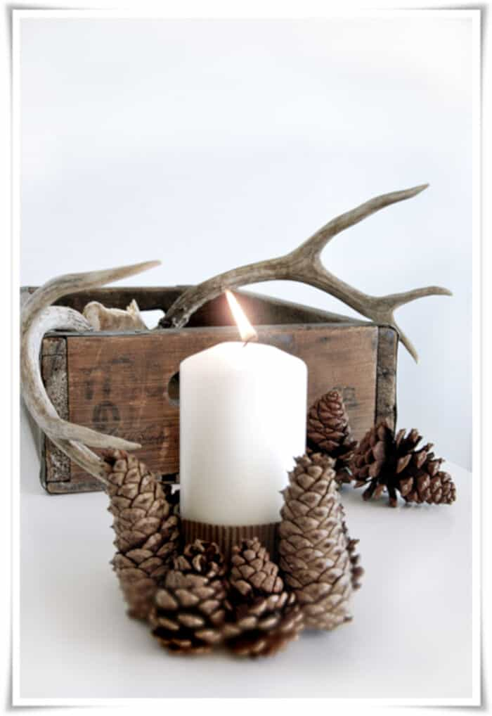 DIY Pinecone Candle Holder by Stylizimo