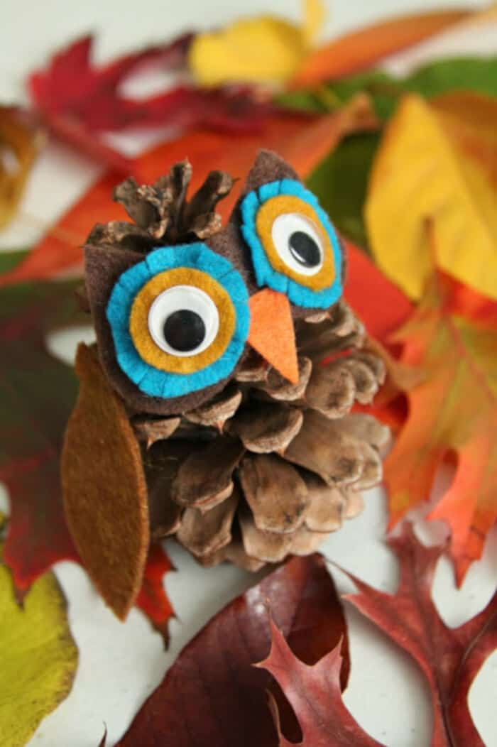 DIY Pinecone Owl and Hedgehog by WhiMSy Love