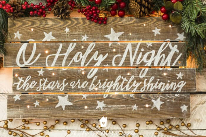 DIY Rustic Light-Up Christmas Sign by The American Patriette