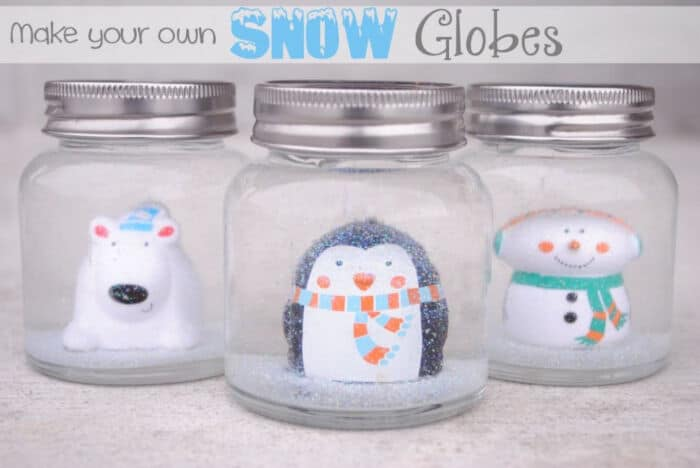 DIY Snow Globes for Kids by Crazy Little Projects