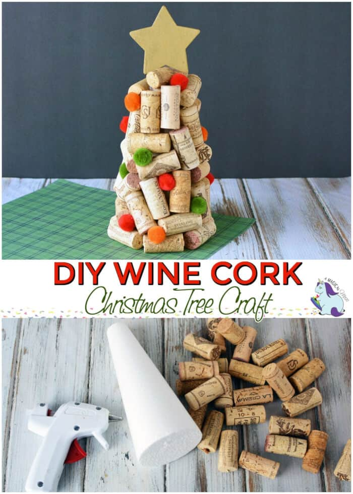 DIY Wine Cork Christmas Trees Craft by A Magical Mess