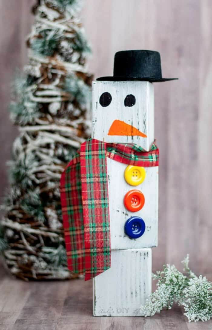 DIY Wood Block Snowman by Anikas DIY Life