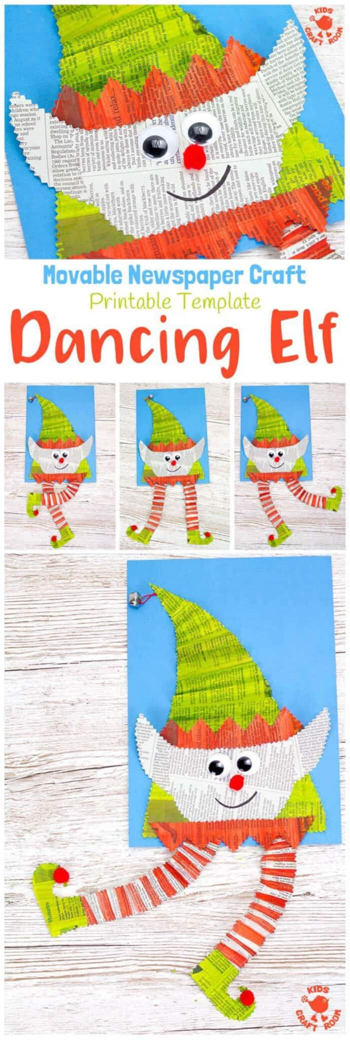 Dancing Newspaper Elf Craft by Kids Craft Room