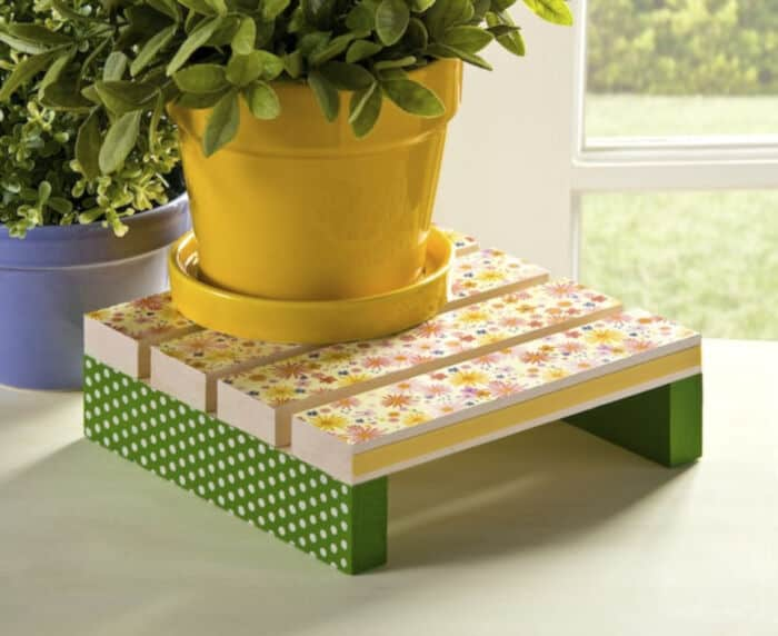 Decoupage a Plant Stand for Spring by Mod Podge Rocks