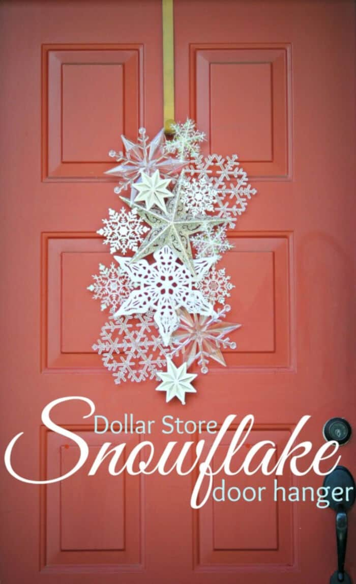 Dollar Store Snowflake Door Hanger by Staying Home Sawyer