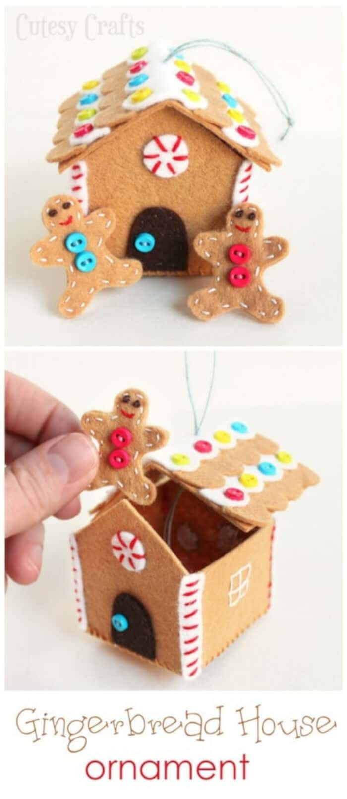Felt Gingerbread House Ornament by Cutesy Crafts