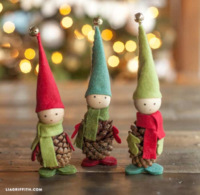 Felt and Pine Cone Elves by Lia Griffith