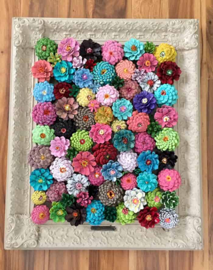 Framed Flower Decor Made from Pine Cones by Crafty Morning