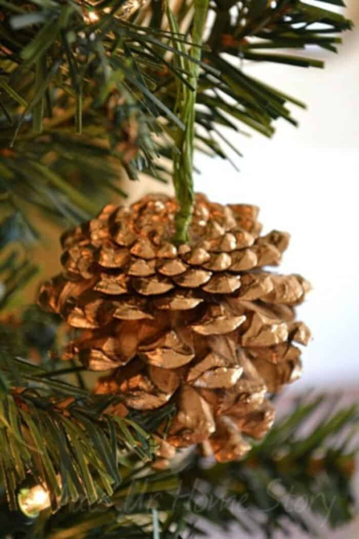 Gilded Pine Cone Ornament Knockoff by Whats Ur Home Story