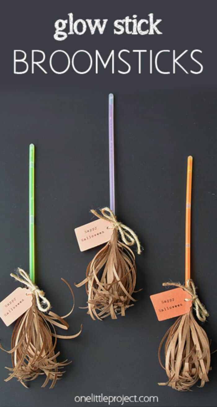 Glow Stick Broomsticks by One Little Project