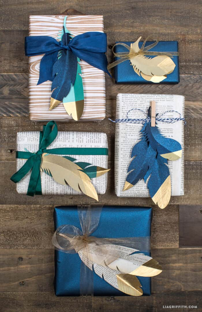 Gold Tipped Paper Feathers by Lia Griffith