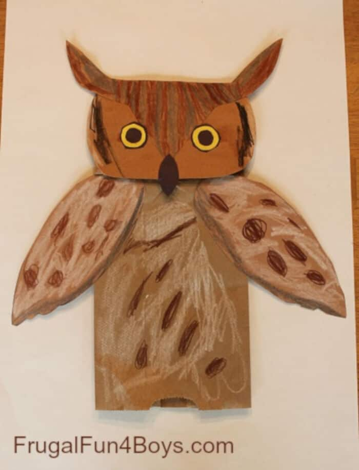 Great Horned Owl Paper Bag Puppets by Frugal Fun For Boys and Girls