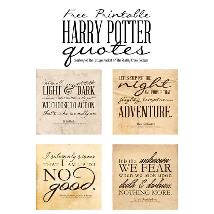 Harry Potter Printables by The Shabby Creek Cottage