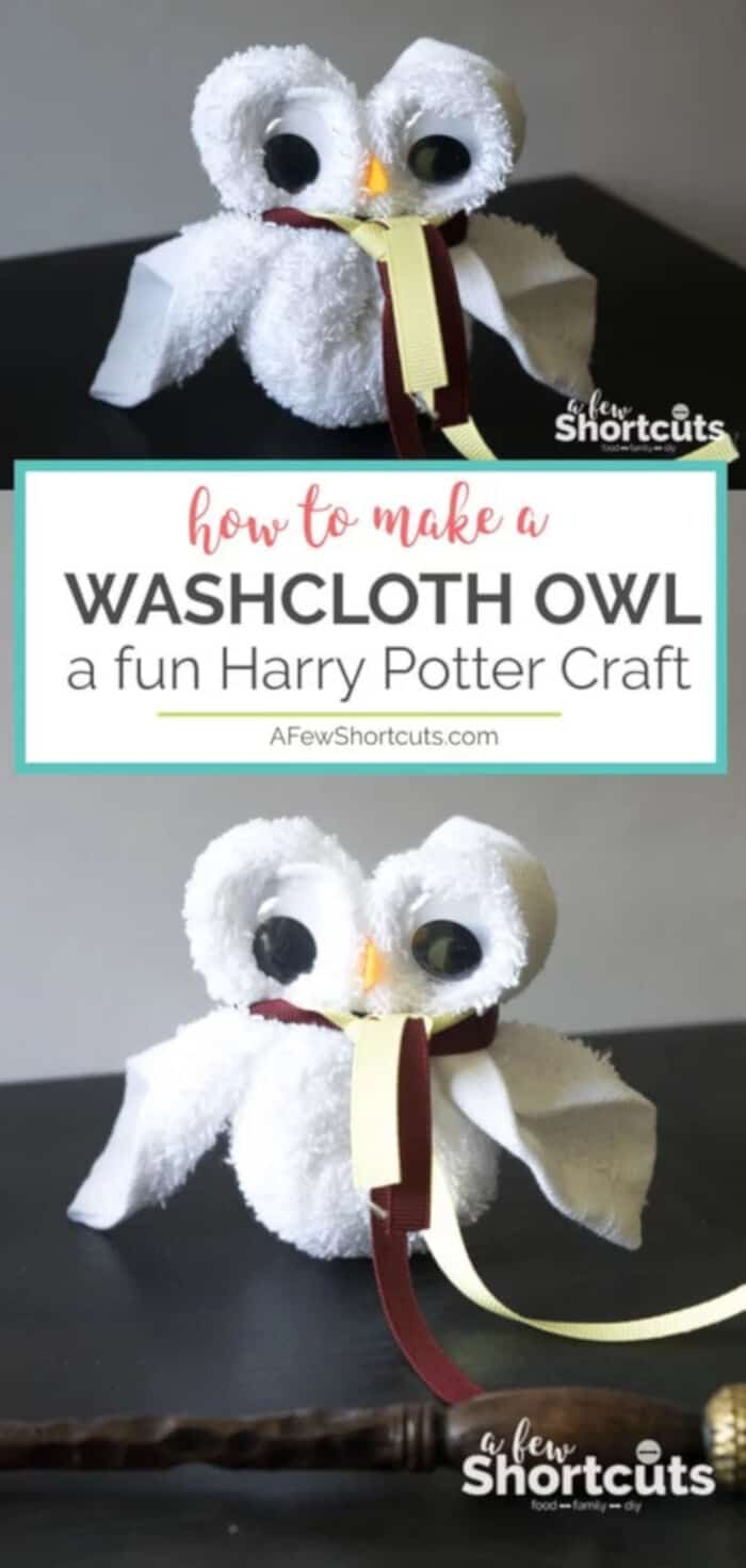 How to Make a Washcloth Owl – Fun Harry Potter Craft by A Few Shortcuts