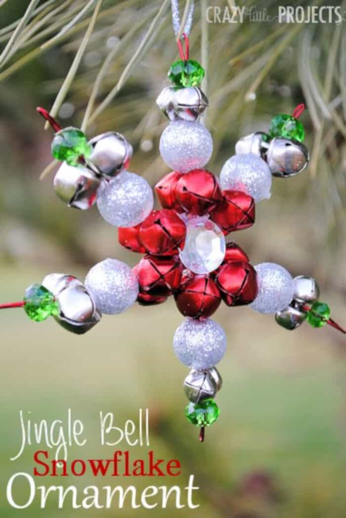 Jingle Bell Snowflake Ornaments by Crazy Little Projects