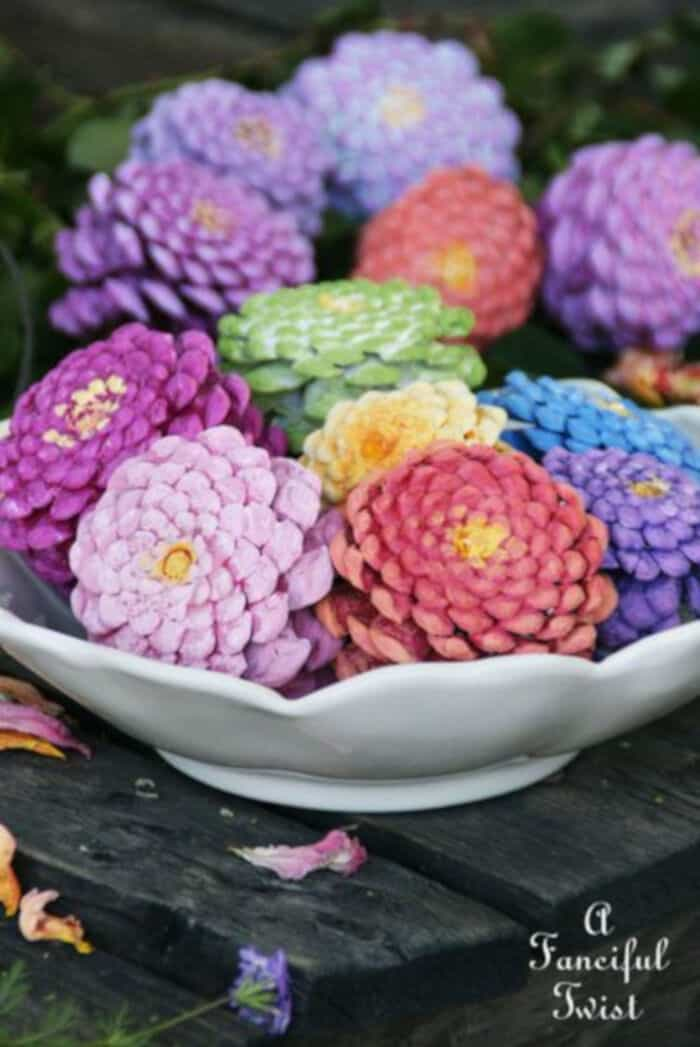 Lets Make Zinnia Flowers from Pine Cones! by A Fanciful Twist