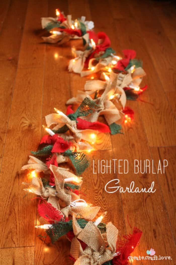 Lighted Burlap Garland For Christmas by Create Craft Love