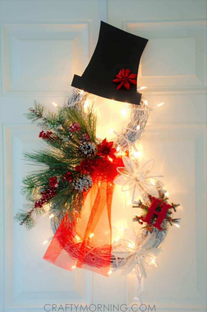 Lighted Grapevine Snowman Wreath by Crafty Morning