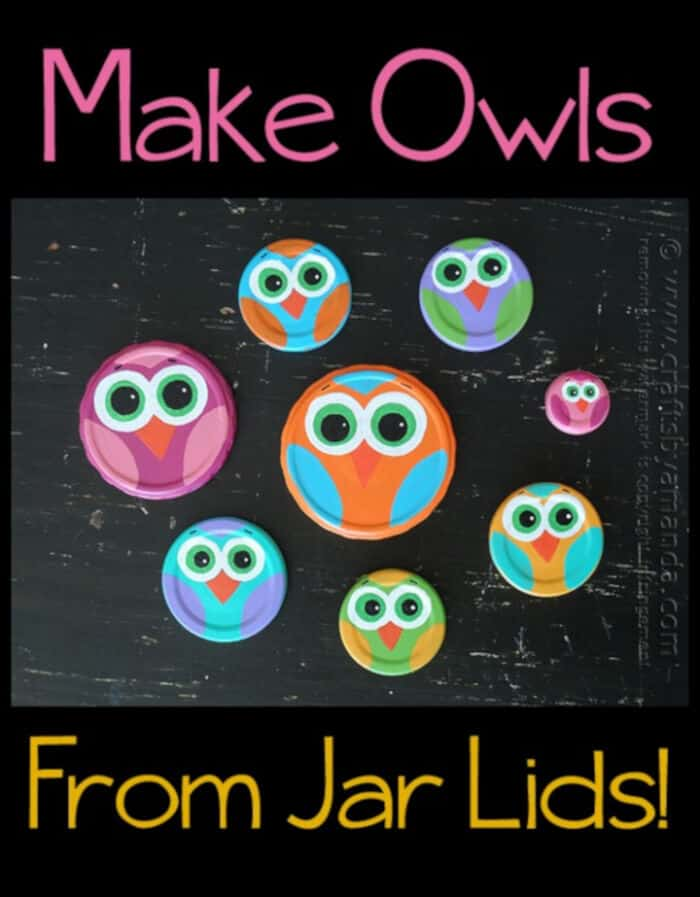 Make Owls From Jar Lids by Crafts by Amanda