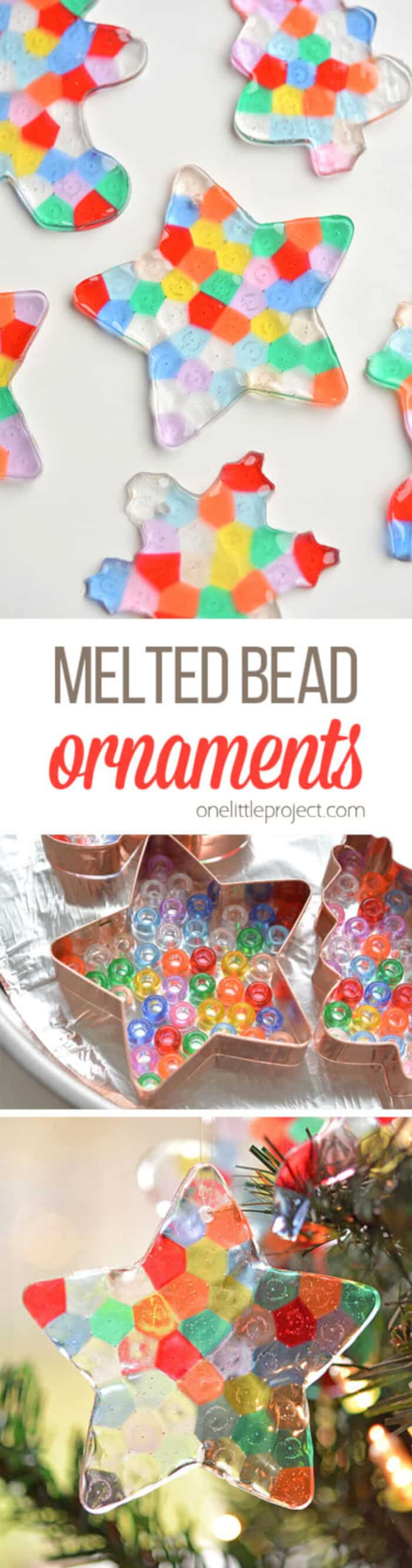 Melted Bead Ornaments by One Little Project