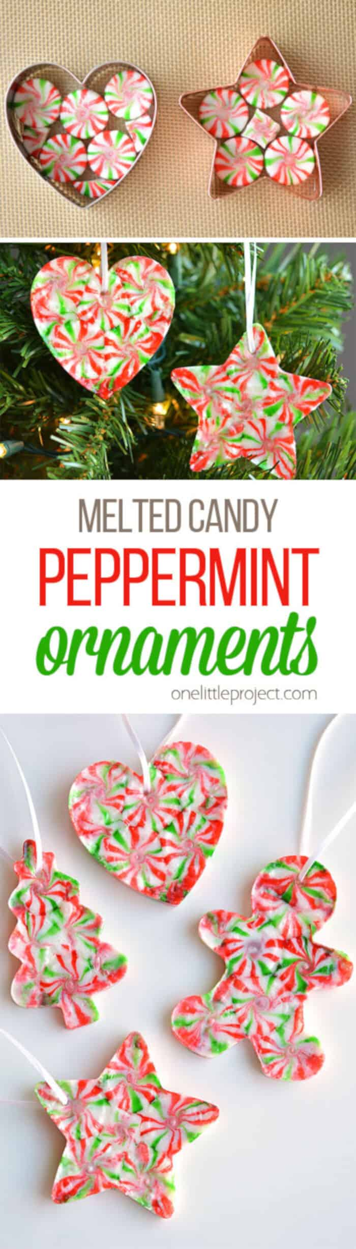Melted Peppermint Candy Ornaments by One Little Project