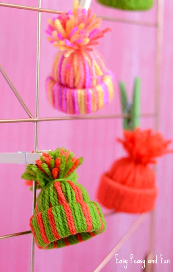 Mini Yarn Hats Ornaments by Easy Peasy and Fun