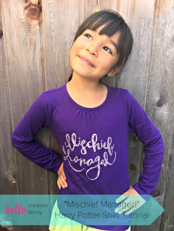 Mischief Managed Harry Potter Shirt Tutorial by Hello Creative Family