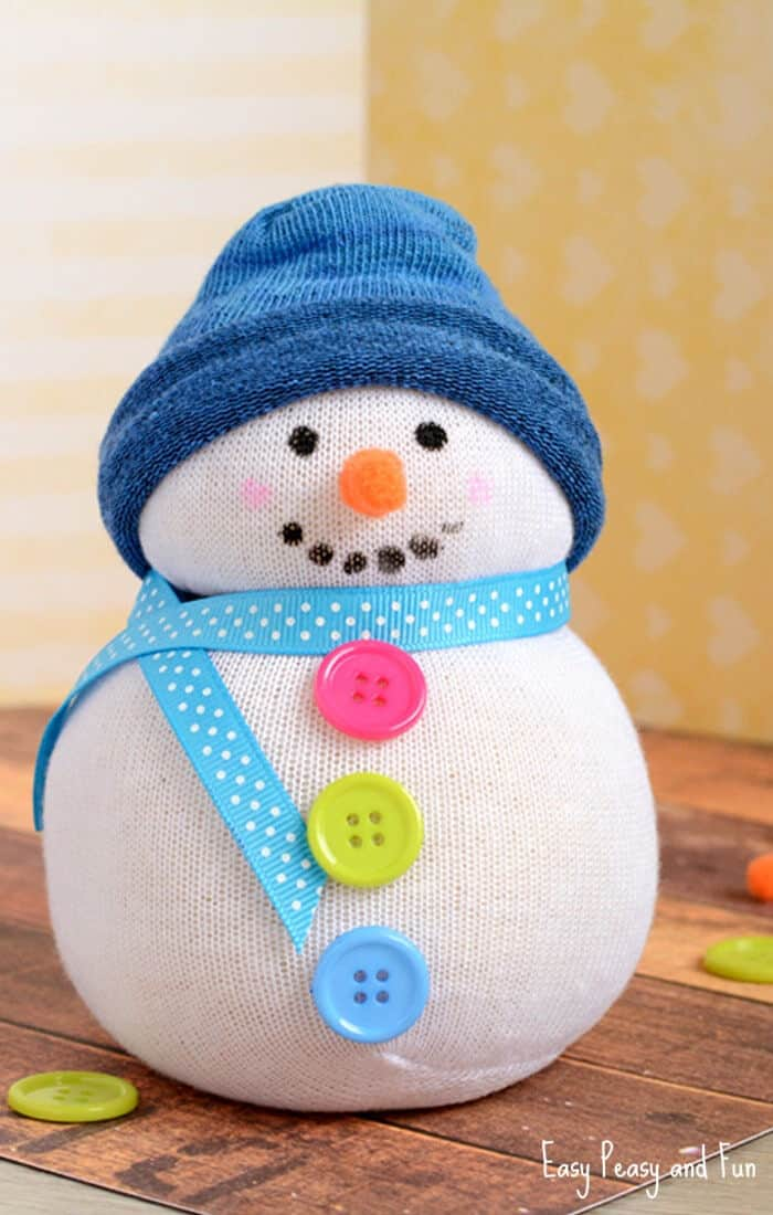 No-Sew Sock Snowman Craft by Easy Peasy and Fun