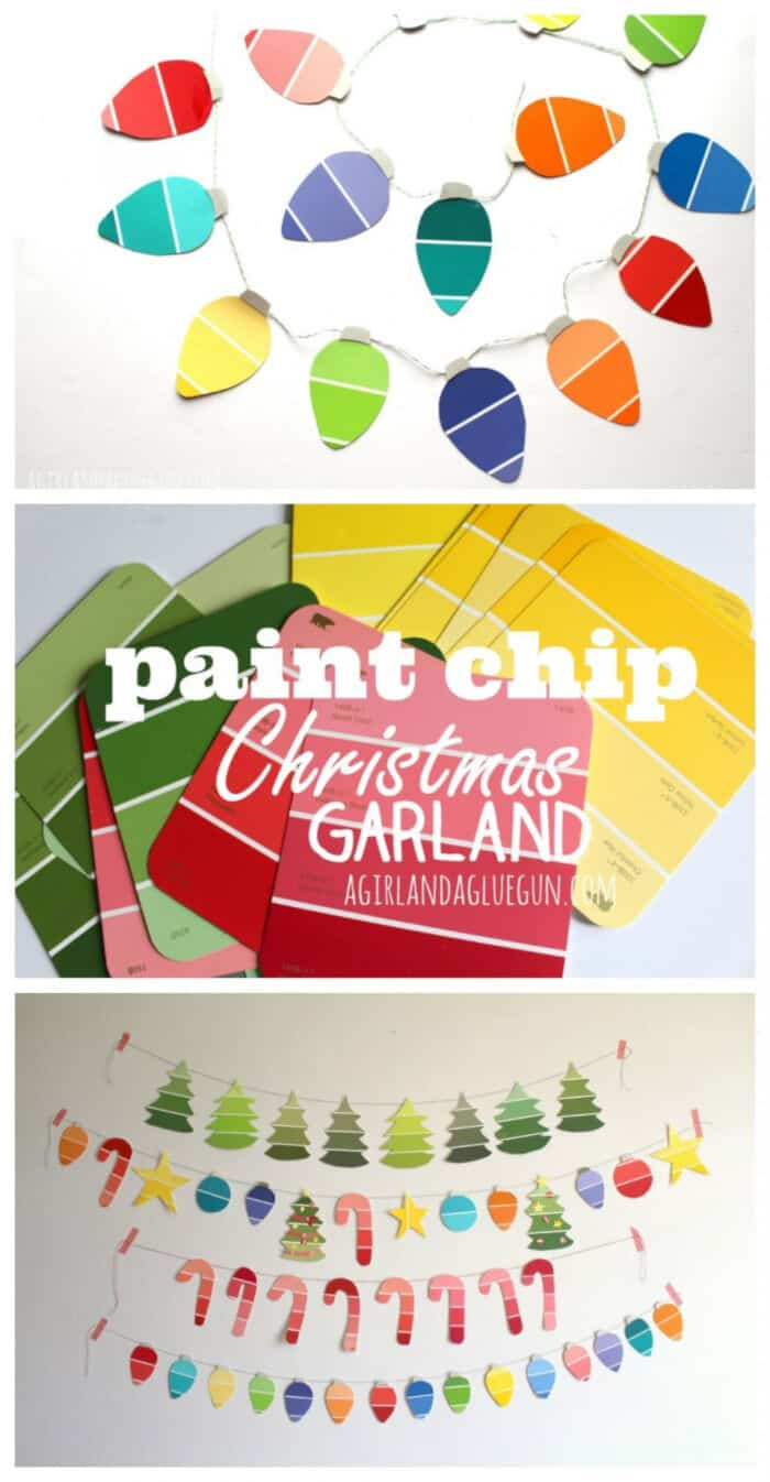 Paint Chip Christmas Garland by A Girl and a Glue Gun