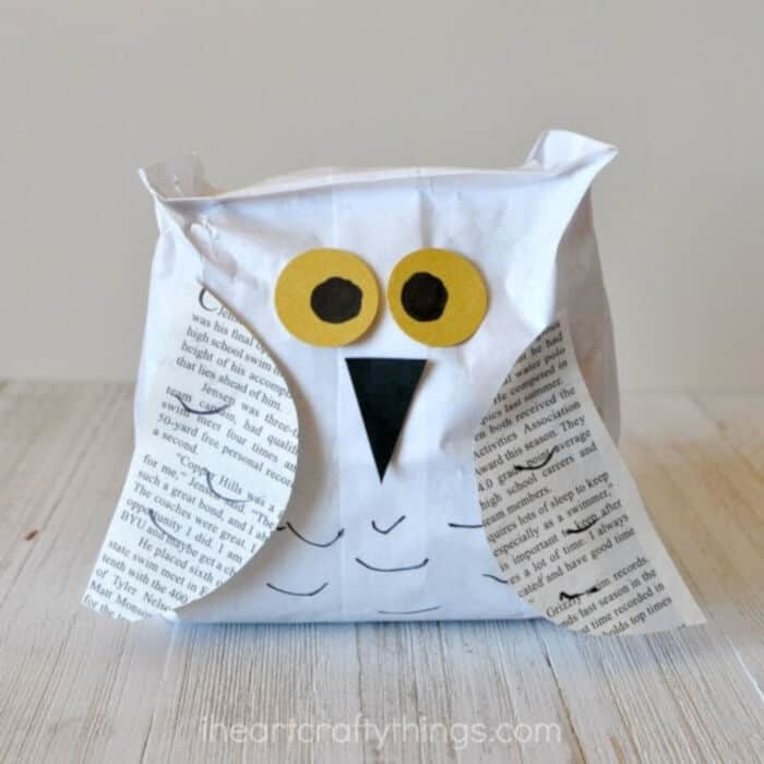 Paper Bag Snowy Owl Craft by I Heart Crafty Things