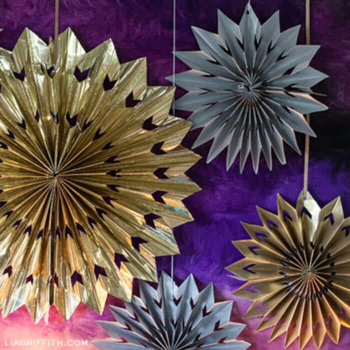 Paper Medallions Made from Foil Gift Wrap by Lia Griffith